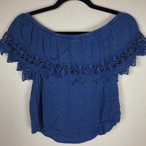 3/$20 Forever 21 Blue Cropped Off Shoulder Top